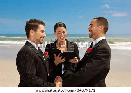 Two gay men during wedding ceremony