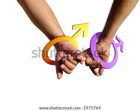 stock photo : Two gay men holding hands with male symbol as bracelets.