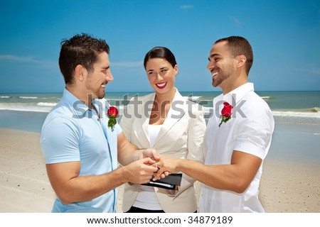 Two gay men in wedding ceremony