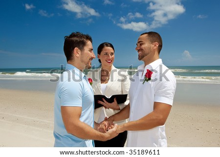 Two gay men married in wedding ceremony