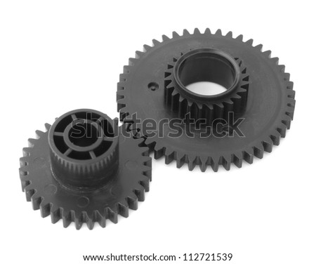 Two gear wheels on a white background.