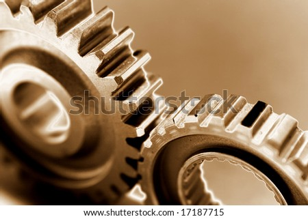 Two gears meshing together