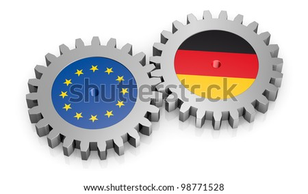 two gears with the flags of europe and germany (3d render)