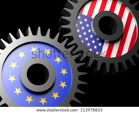 Two gears with the flags of usa and European union