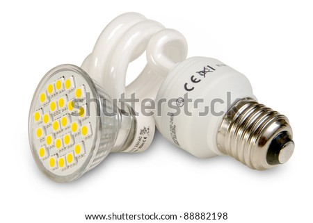 Two generations of light bulbs.