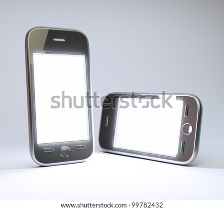 Two generic smartphones with a clear white screen