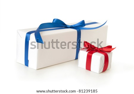 two gift boxes on white background