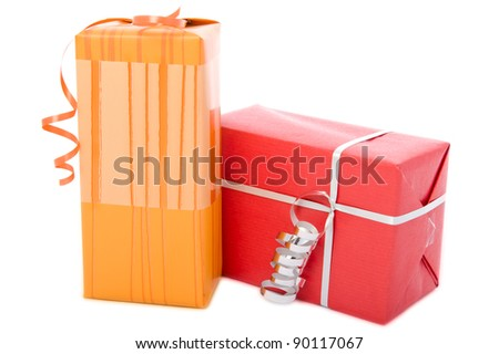 Two gift boxes with ribbons, isolated on white background
