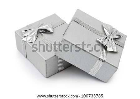 Two gifts isolated on white background