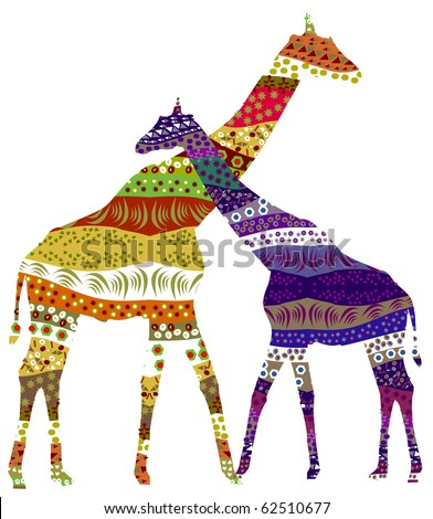 Two giraffe in romantic feelings for each other (raster version)