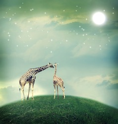 Two Giraffes, mother and child in friendship or love theme image at a fantasy landscape