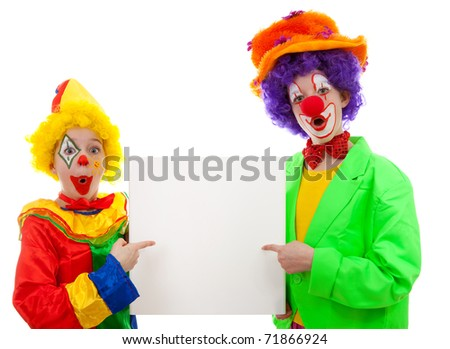 Two girl clowns holding empty text board over white background