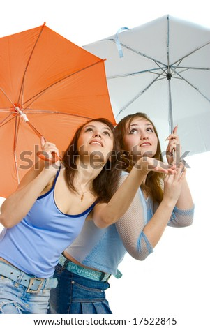 two girl with umbrella
