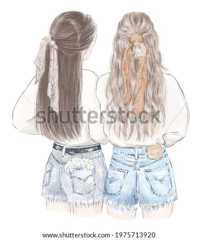 Two girls, best friends in sweatshirts and jeans shorts. Hand drawn illustration ストックフォト ©