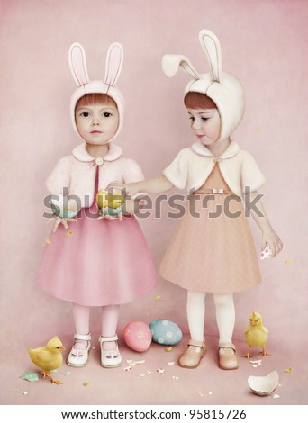 Two girls, Easter Eggs and Chickens