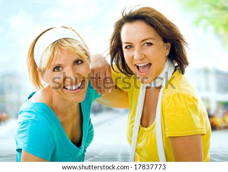 two girls having fun in the city.  A keyword for this collection is wima7