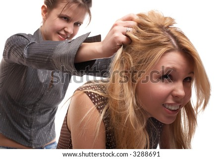 Two girls in aggression