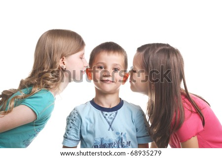 Two Girls Kissing Little Smiling Handsome Boy Stock Photo 68935279 ...