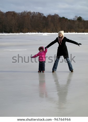 Two girls on the ice