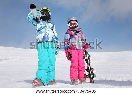 Two girls on the snow