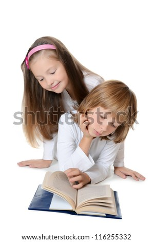 Two girls read book isolated on white