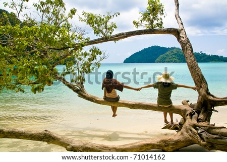 Two girls relax on beach