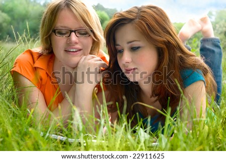two  girls relaxing outdoor
