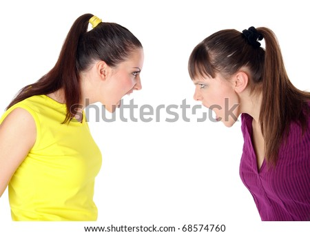 two girls shouting at each other. Isolated at white background