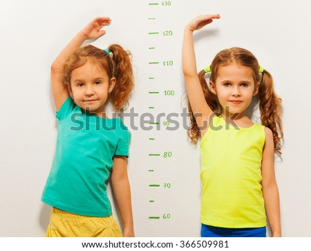 Two girls show height on wall scale at home #366509981