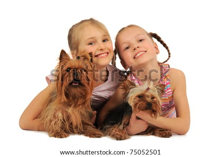 Two girls with dogs