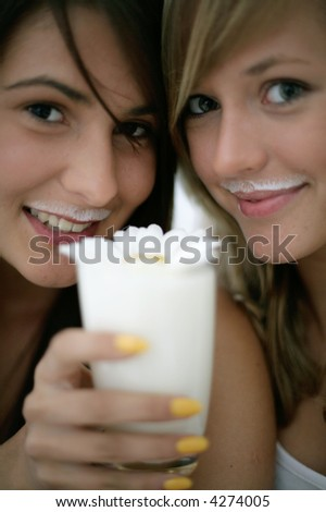 girls with mustaches. girls with milk mustaches,