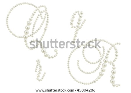 two glamour letters of alphabet made from white pearls