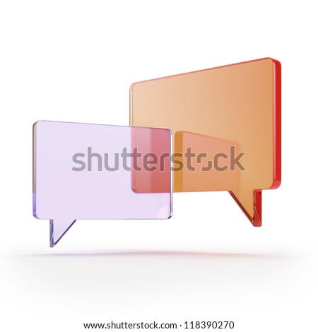 Two glass bubble speech icons