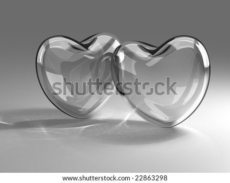 Two glass hearts