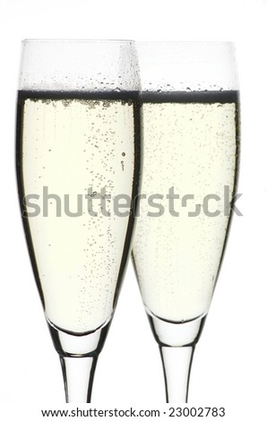 Two glass of champagne close up - stock photo