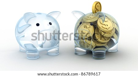 Two Glass pig. Empty and full pig (done in 3d, cgi)