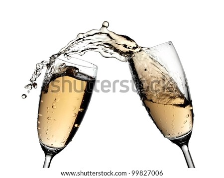 Two glasses champagne splash