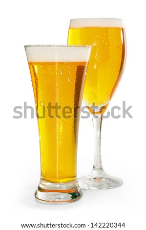 two glasses of blond beer with white bottom