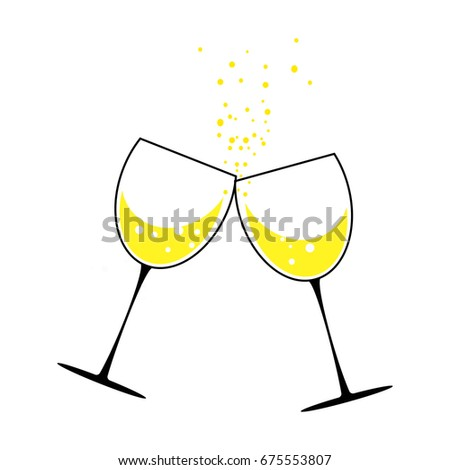 two glasses of champagne concept holiday new year celebration illustration