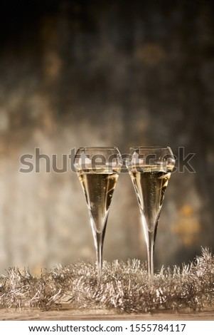 Two glasses of champagne. Copyspace for text.