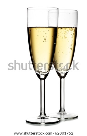 Two glasses of champagne isolated over the white background