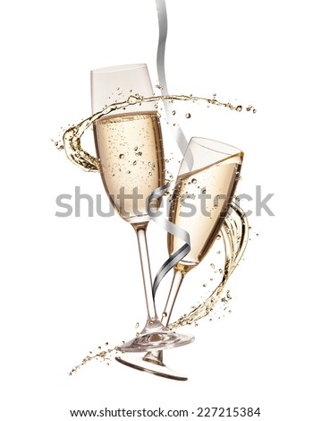 Two glasses of champagne with splash, isolated on white background #227215384