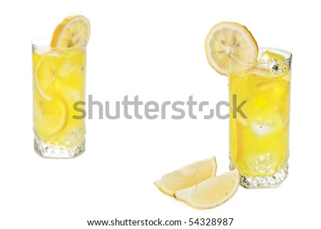 Two glasses of cold beverage with slices of lemon