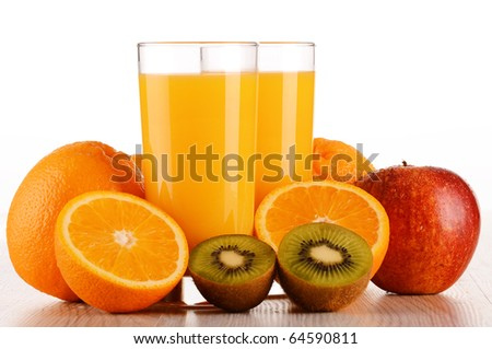 Two glasses of orange juice and fruits isolated on white