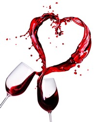 Two Glasses of Red Wine Abstract Heart Splash