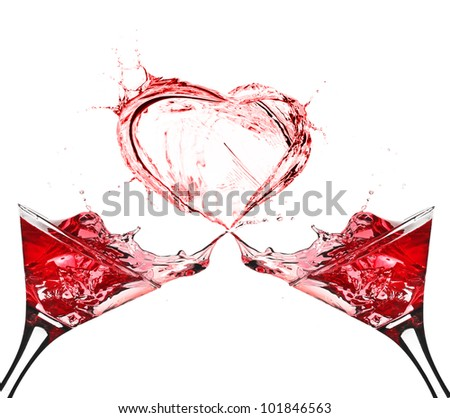 Two Glasses of Red Wine Abstract Heart Splash - stock photo