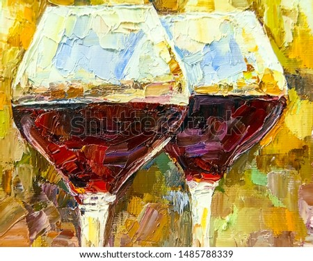 Two glasses of red wine with beautiful reflections at sunset. Palette knife technique of oil painting and brush.