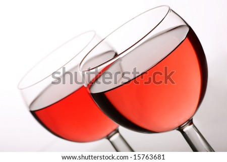 two glasses or rose wine
