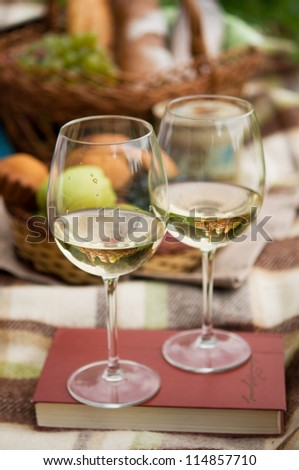 Two glasses of the white wine, picnic theme