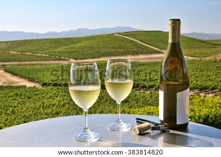 two glasses of white wine overlooking napa valley